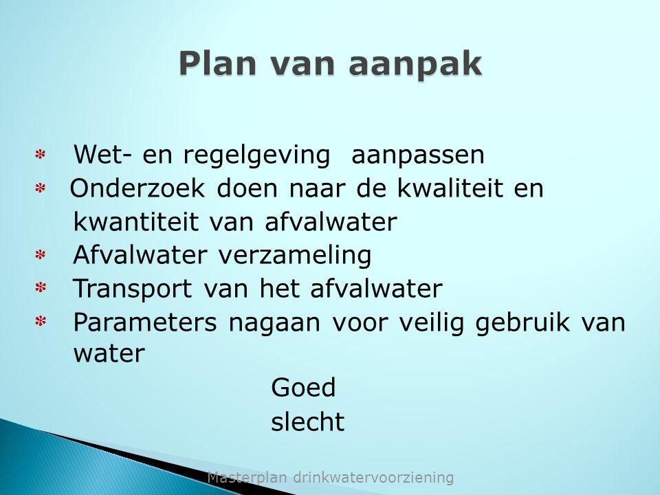 * Wet- en regelgeving aanpassen * Onderzoek doen naar de kwaliteit en kwantiteit van afvalwater * Afvalwater verzameling * Transport van het afvalwate