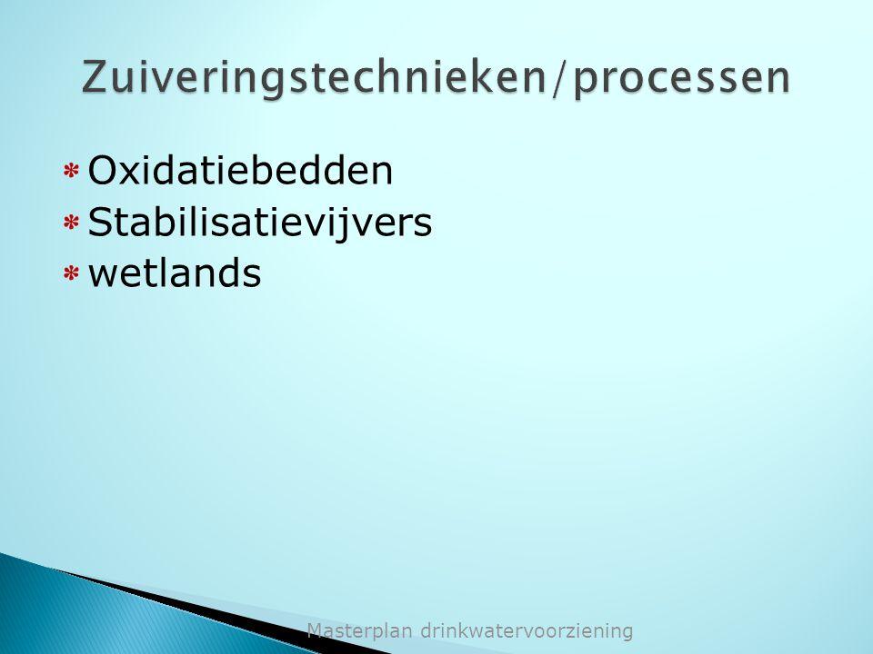 * Oxidatiebedden * Stabilisatievijvers * wetlands Masterplan drinkwatervoorziening