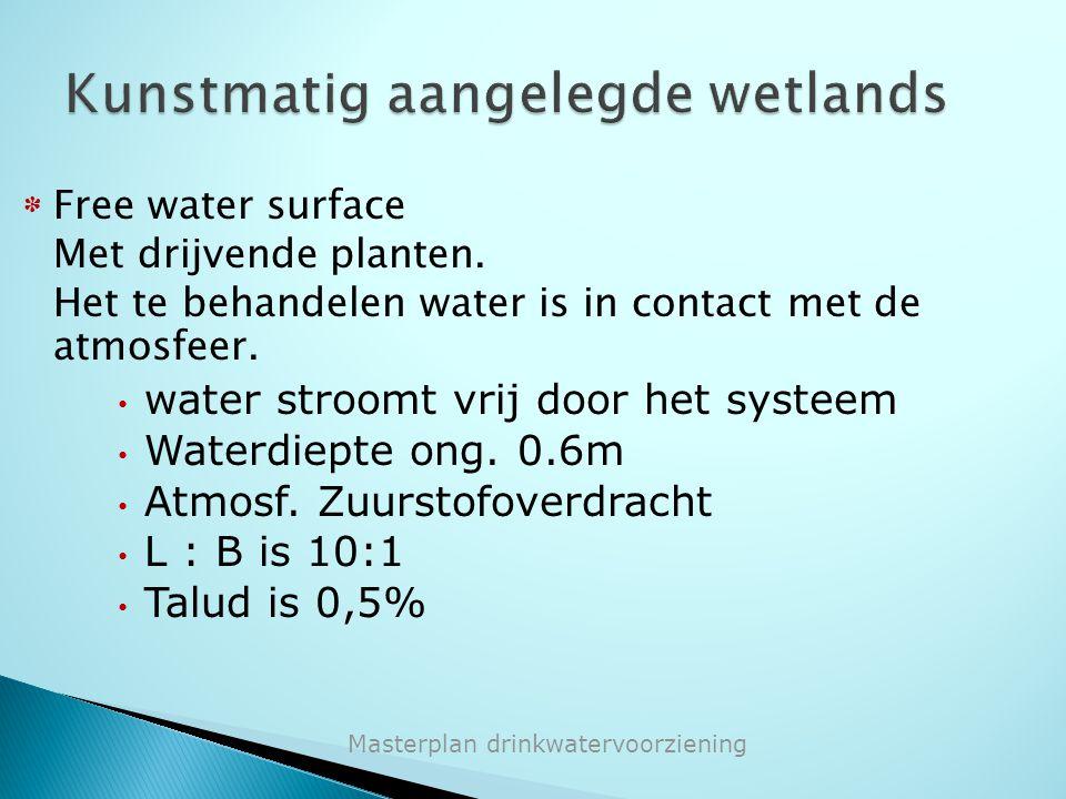 * Free water surface Met drijvende planten. Het te behandelen water is in contact met de atmosfeer. water stroomt vrij door het systeem Waterdiepte on