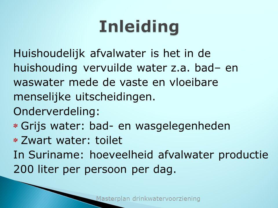 Masterplan drinkwatervoorziening Huishoudelijk afvalwater is het in de huishouding vervuilde water z.a. bad– en waswater mede de vaste en vloeibare me