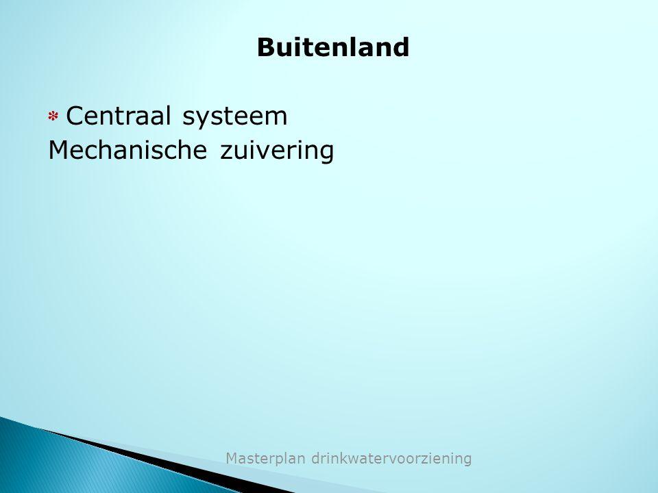 Buitenland * Centraal systeem Mechanische zuivering Masterplan drinkwatervoorziening