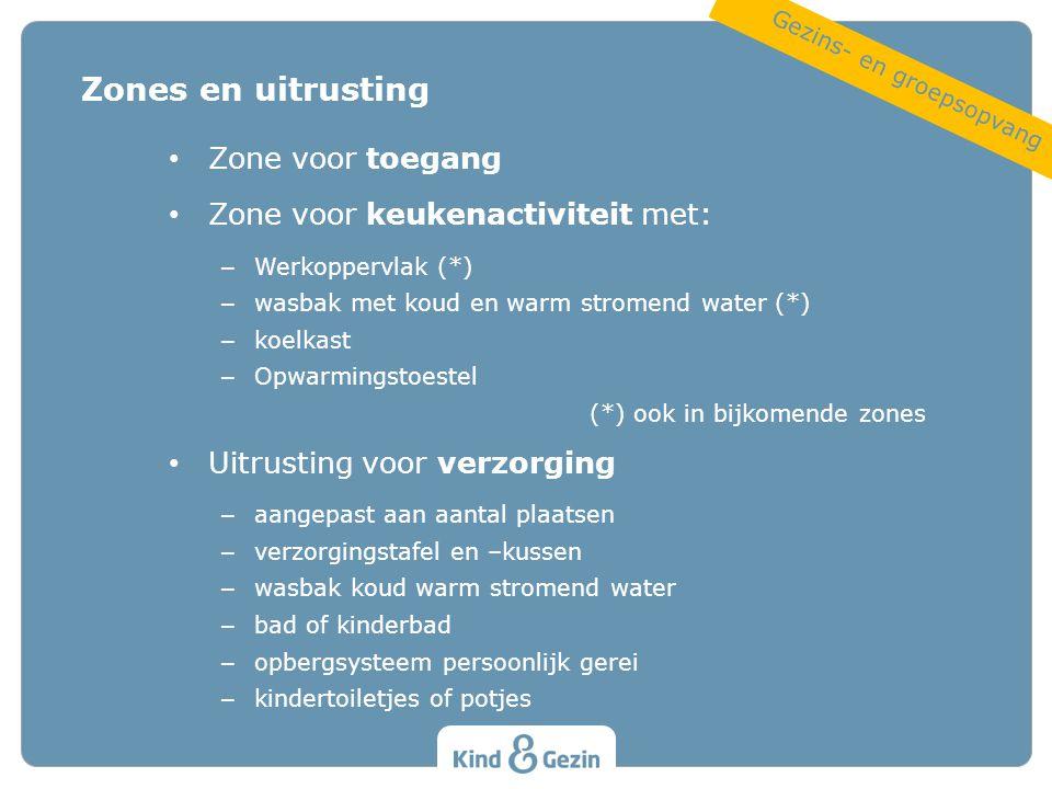 Zone voor toegang Zone voor keukenactiviteit met: – Werkoppervlak (*) – wasbak met koud en warm stromend water (*) – koelkast – Opwarmingstoestel (*)