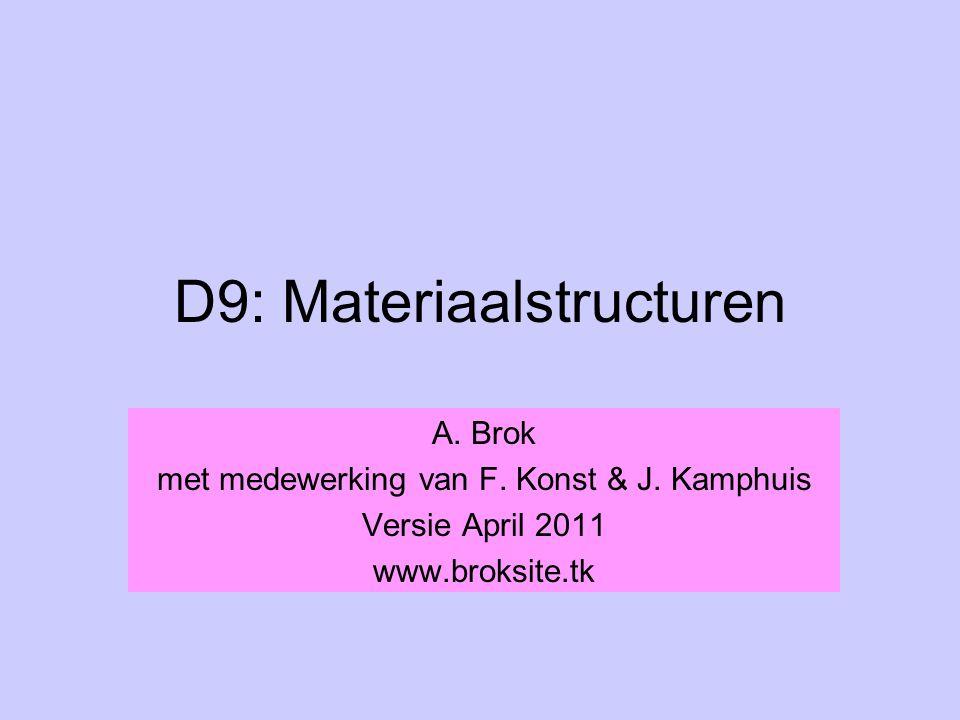 D9: Materiaalstructuren A. Brok met medewerking van F. Konst & J. Kamphuis Versie April 2011 www.broksite.tk