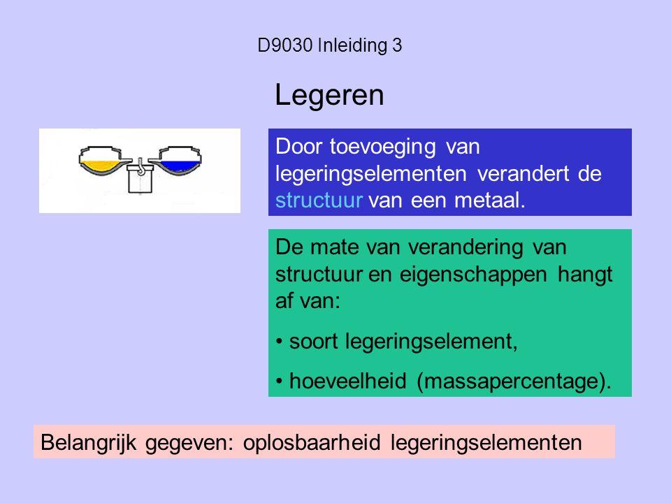 D9030 Inleiding 3 Door toevoeging van legeringselementen verandert de structuur van een metaal. Legeren De mate van verandering van structuur en eigen