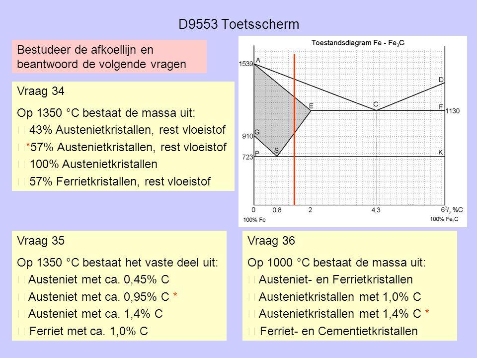 D9553 Toetsscherm Vraag 34 Op 1350 °C bestaat de massa uit:  43% Austenietkristallen, rest vloeistof *57% Austenietkristallen, rest vloeistof  100%