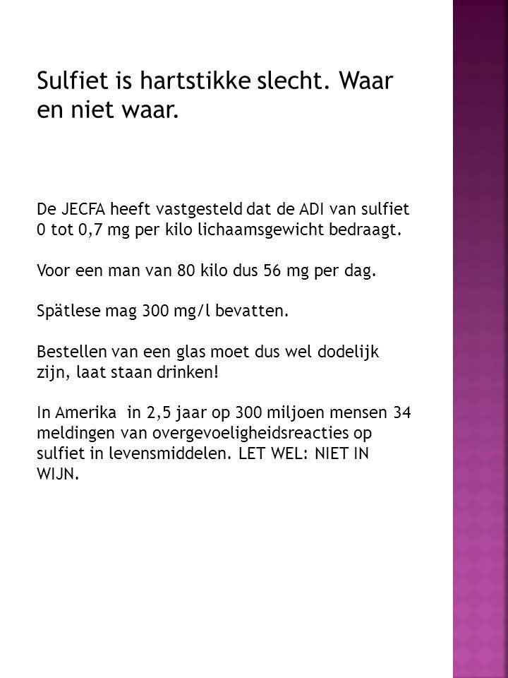 Sulfiet is hartstikke slecht. Waar en niet waar. De JECFA heeft vastgesteld dat de ADI van sulfiet 0 tot 0,7 mg per kilo lichaamsgewicht bedraagt. Voo