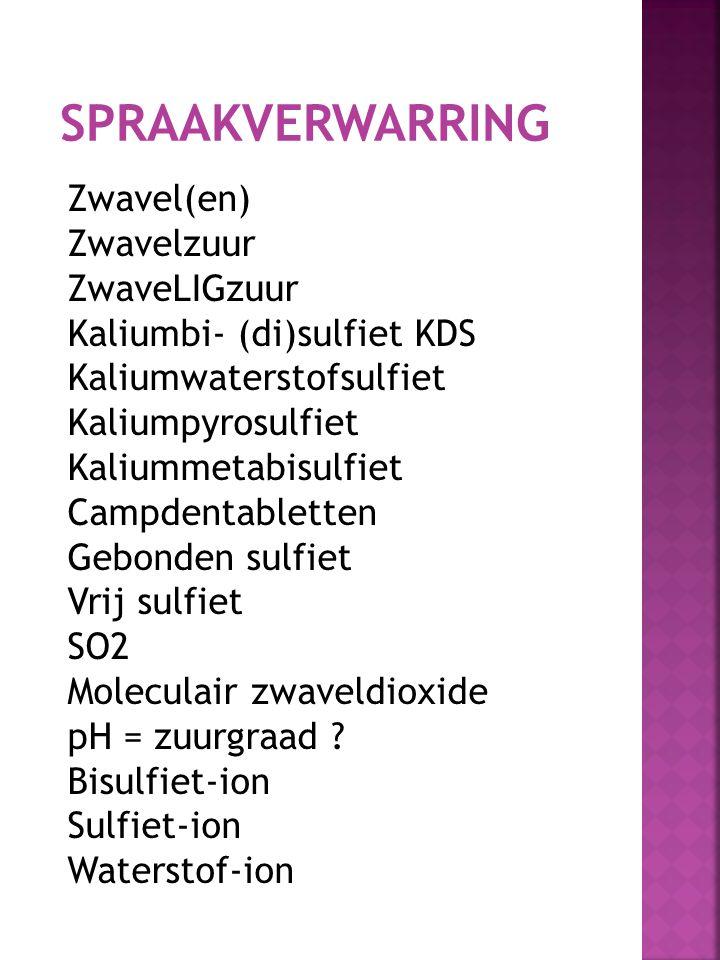 SPRAAKVERWARRING Zwavel(en) Zwavelzuur ZwaveLIGzuur Kaliumbi- (di)sulfiet KDS Kaliumwaterstofsulfiet Kaliumpyrosulfiet Kaliummetabisulfiet Campdentabl
