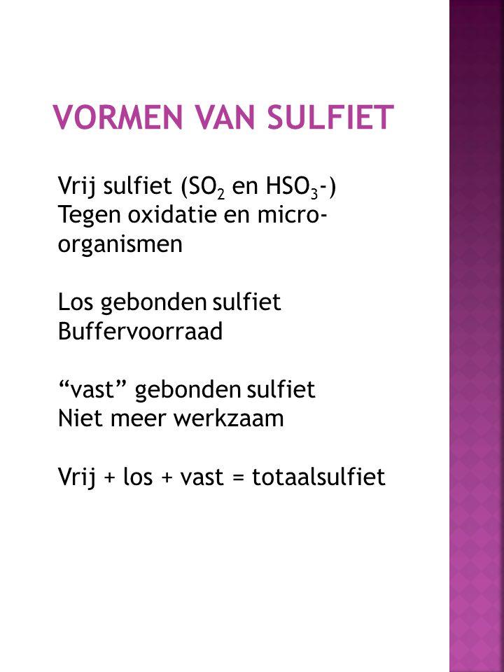 """VORMEN VAN SULFIET Vrij sulfiet (SO 2 en HSO 3 -) Tegen oxidatie en micro- organismen Los gebonden sulfiet Buffervoorraad """"vast"""" gebonden sulfiet Niet"""