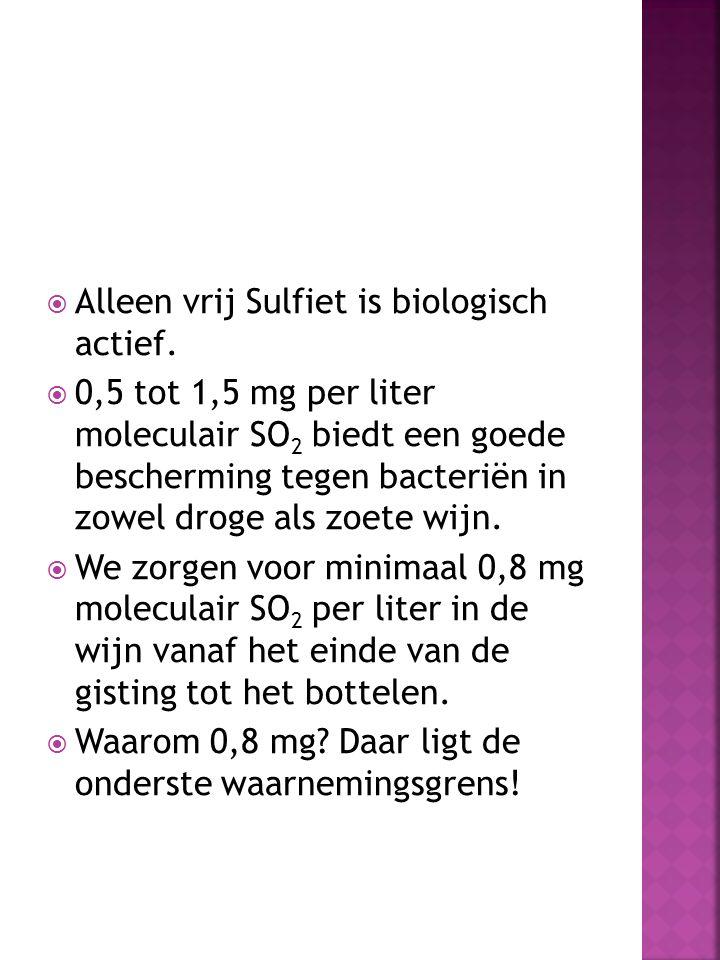  Alleen vrij Sulfiet is biologisch actief.  0,5 tot 1,5 mg per liter moleculair SO 2 biedt een goede bescherming tegen bacteriën in zowel droge als