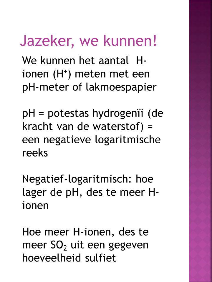 Jazeker, we kunnen! We kunnen het aantal H- ionen (H + ) meten met een pH-meter of lakmoespapier pH = potestas hydrogenïi (de kracht van de waterstof)
