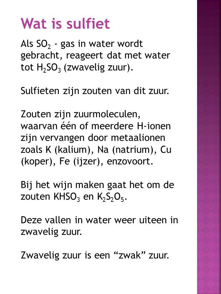 Als SO 2 - gas in water wordt gebracht, reageert dat met water tot H 2 SO 3 (zwavelig zuur). Sulfieten zijn zouten van dit zuur. Zouten zijn zuurmolec