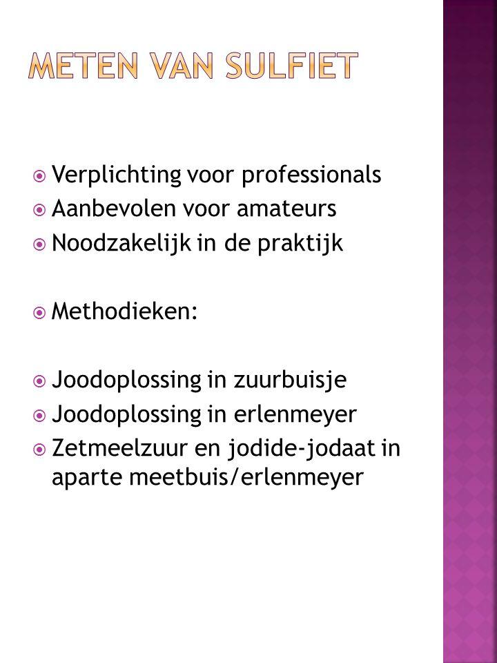  Verplichting voor professionals  Aanbevolen voor amateurs  Noodzakelijk in de praktijk  Methodieken:  Joodoplossing in zuurbuisje  Joodoplossin