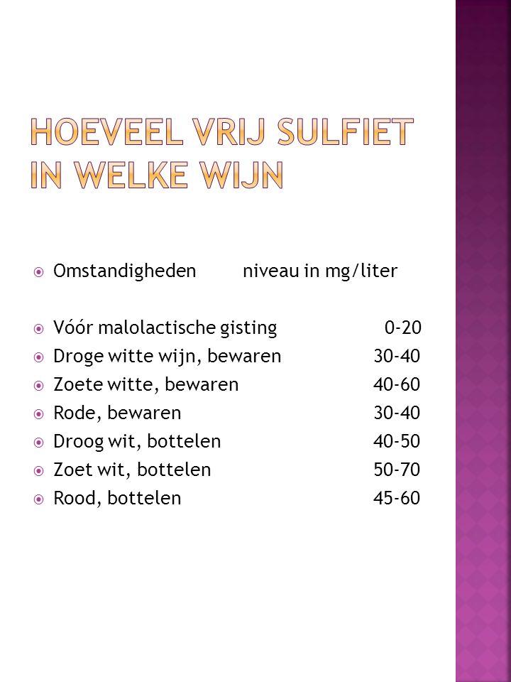  Omstandigheden niveau in mg/liter  Vóór malolactische gisting 0-20  Droge witte wijn, bewaren30-40  Zoete witte, bewaren40-60  Rode, bewaren30-4