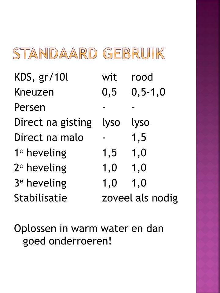 KDS, gr/10lwitrood Kneuzen0,50,5-1,0 Persen-- Direct na gistinglysolyso Direct na malo-1,5 1 e heveling1,51,0 2 e heveling1,01,0 3 e heveling1,01,0 St