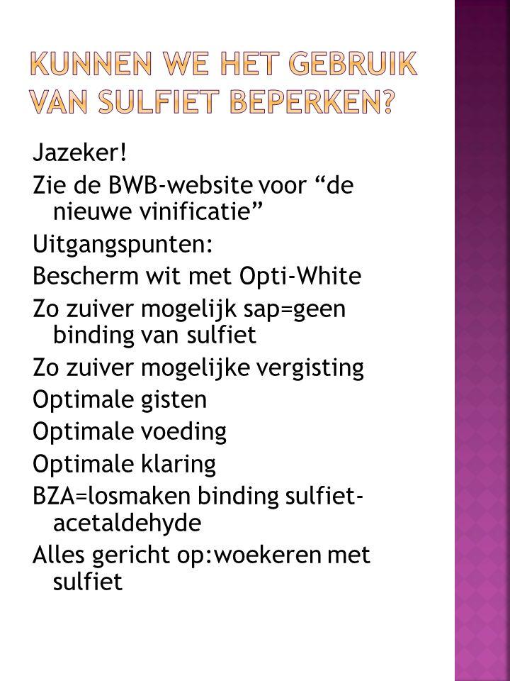 """Jazeker! Zie de BWB-website voor """"de nieuwe vinificatie"""" Uitgangspunten: Bescherm wit met Opti-White Zo zuiver mogelijk sap=geen binding van sulfiet Z"""