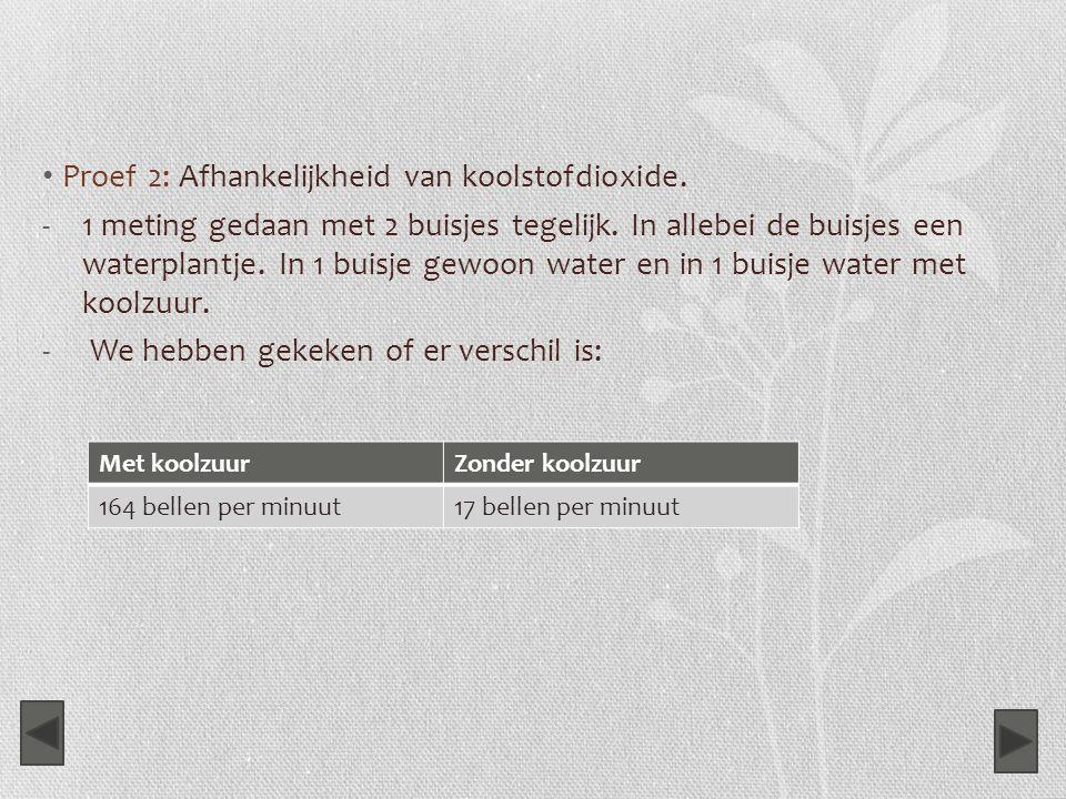 Proef 2: Afhankelijkheid van koolstofdioxide. -1 meting gedaan met 2 buisjes tegelijk. In allebei de buisjes een waterplantje. In 1 buisje gewoon wate