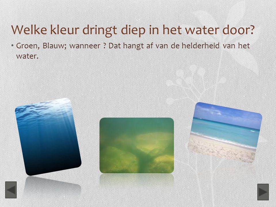 Welke kleur dringt diep in het water door? Groen, Blauw; wanneer ? Dat hangt af van de helderheid van het water.
