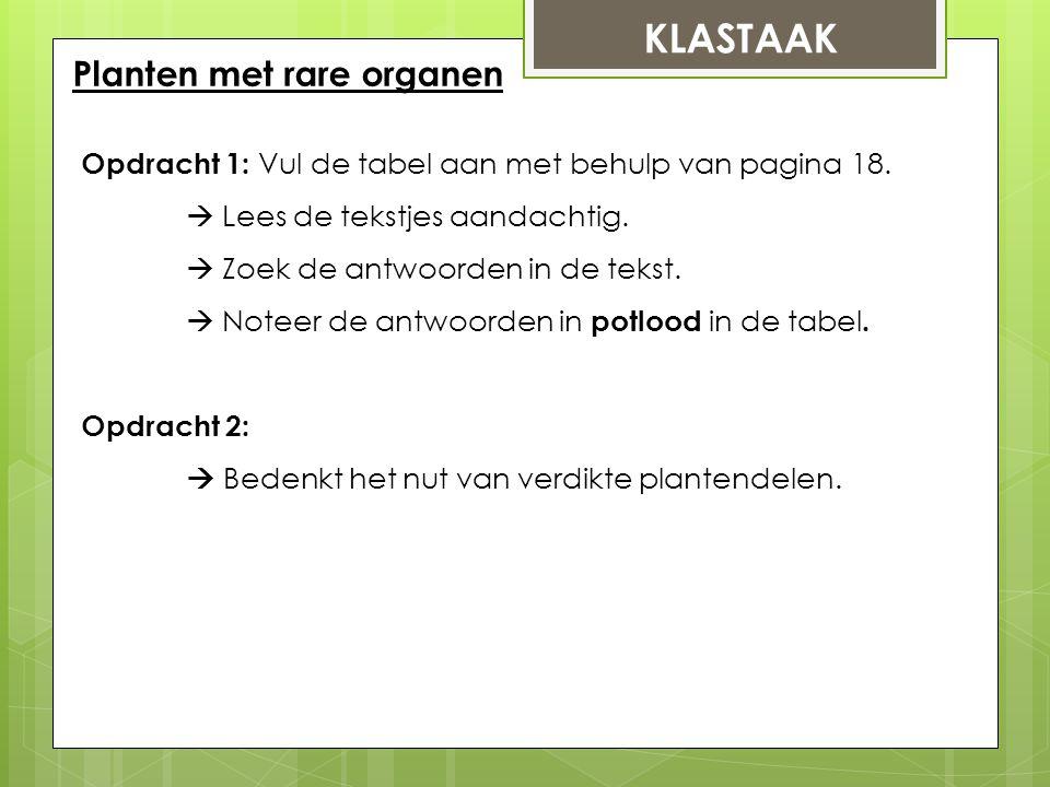 KLASTAAK Planten met rare organen Opdracht 1: Vul de tabel aan met behulp van pagina 18.  Lees de tekstjes aandachtig.  Zoek de antwoorden in de tek