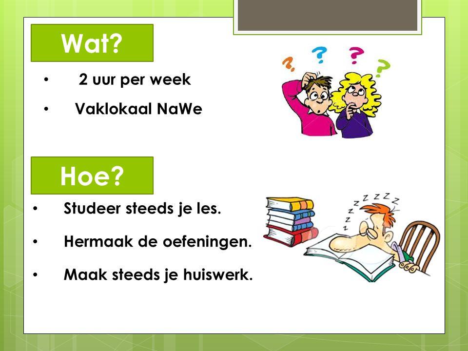 2 uur per week Vaklokaal NaWe Wat? Studeer steeds je les. Hermaak de oefeningen. Maak steeds je huiswerk. Hoe?
