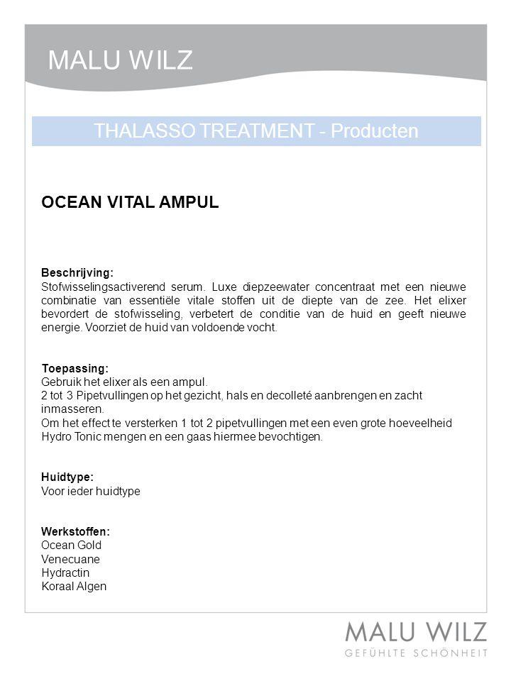 OCEAN VITAL AMPUL Beschrijving: Stofwisselingsactiverend serum. Luxe diepzeewater concentraat met een nieuwe combinatie van essentiële vitale stoffen