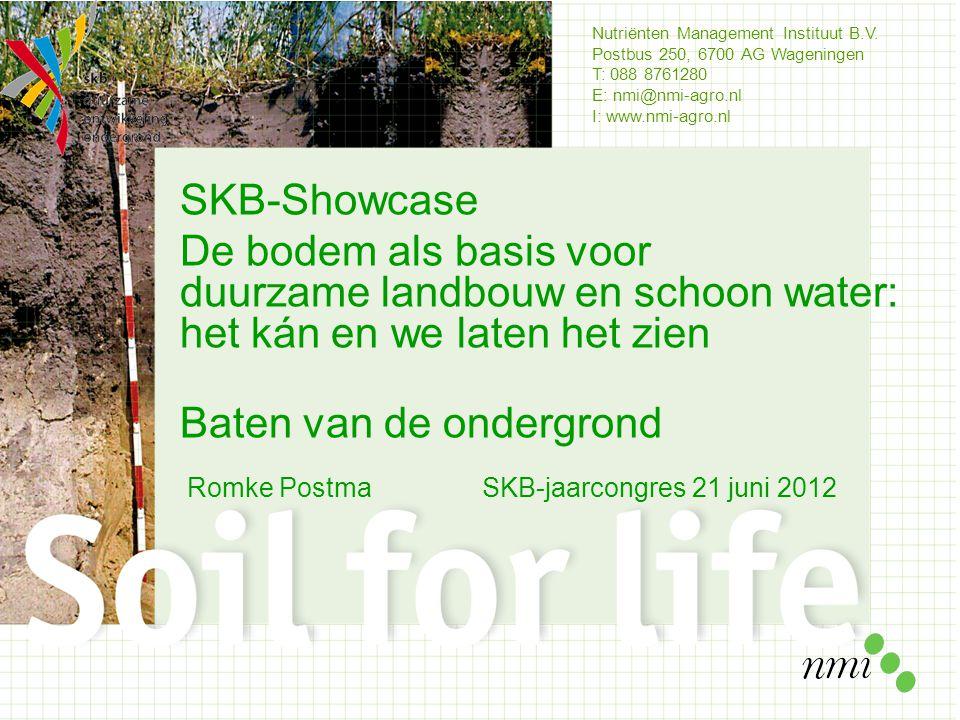 Nutriënten Management Instituut B.V. Postbus 250, 6700 AG Wageningen T: 088 8761280 E: nmi@nmi-agro.nl I: www.nmi-agro.nl SKB-Showcase De bodem als ba