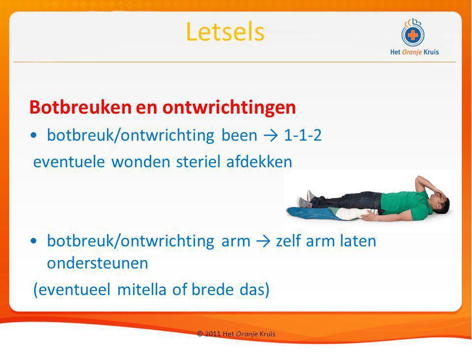 © 2011 Het Oranje Kruis Botbreuken en ontwrichtingen botbreuk/ontwrichting been → 1-1-2 eventuele wonden steriel afdekken botbreuk/ontwrichting arm →