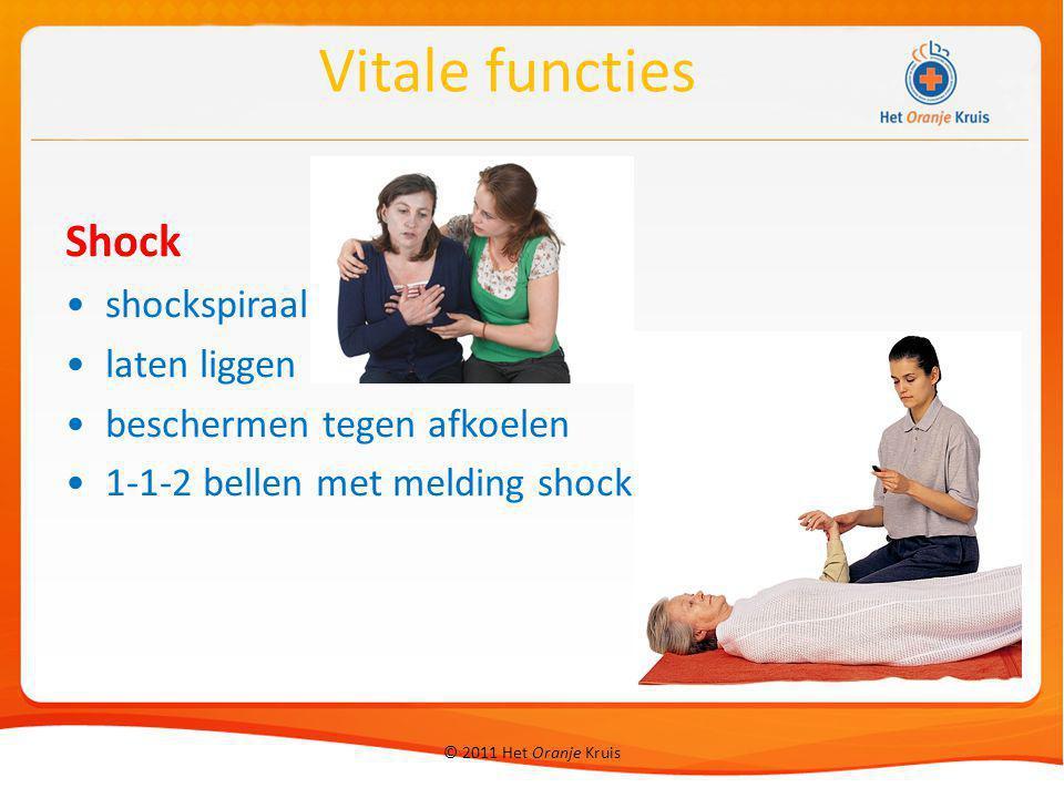 © 2011 Het Oranje Kruis Shock shockspiraal laten liggen beschermen tegen afkoelen 1-1-2 bellen met melding shock Vitale functies