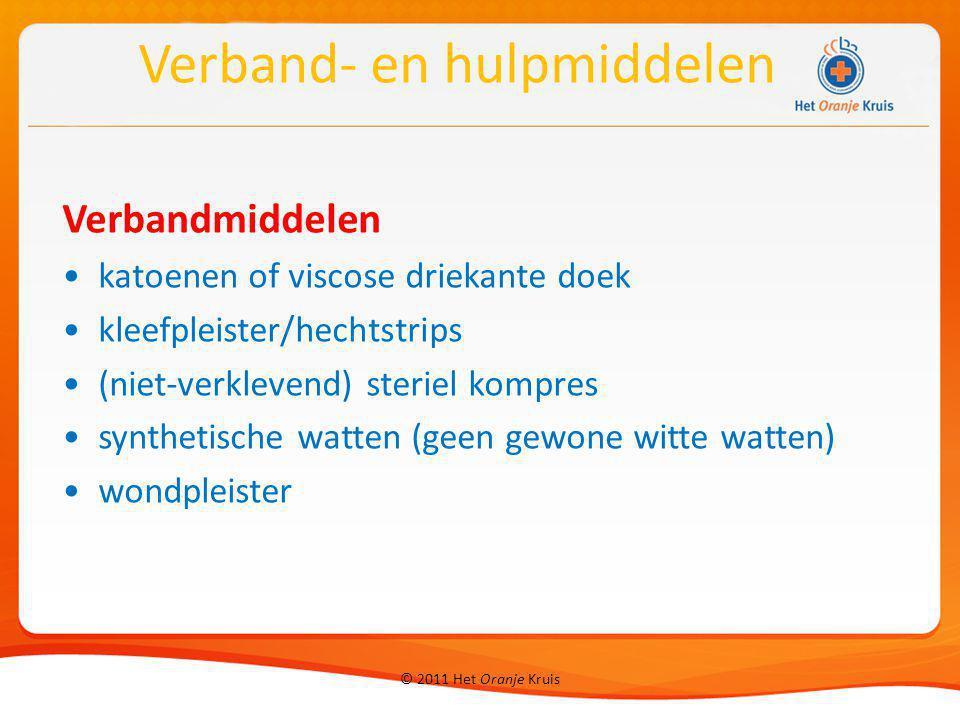 © 2011 Het Oranje Kruis Verbandmiddelen katoenen of viscose driekante doek kleefpleister/hechtstrips (niet-verklevend) steriel kompres synthetische wa