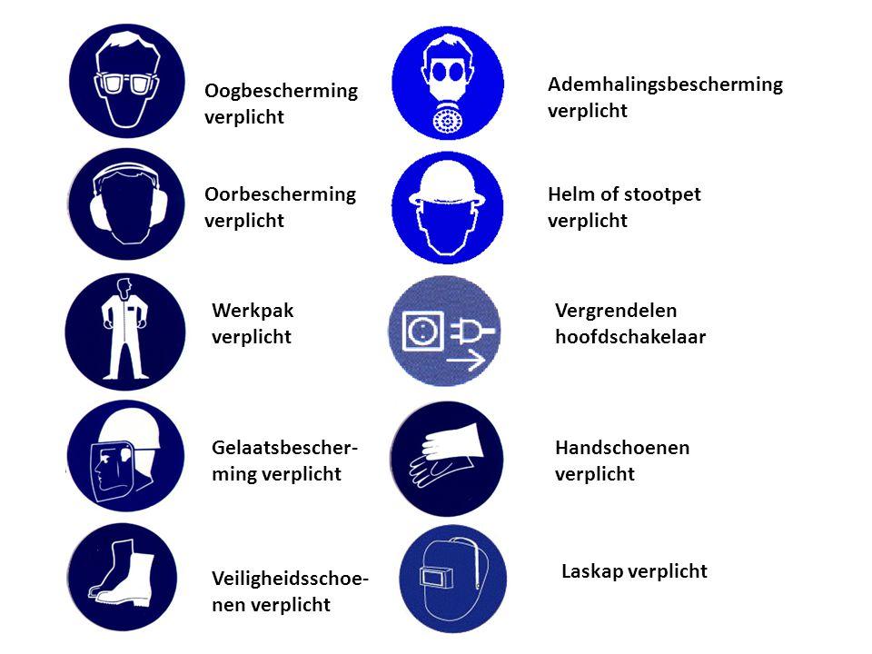 Oogbescherming verplicht Oorbescherming verplicht Werkpak verplicht Gelaatsbescher- ming verplicht Veiligheidsschoe- nen verplicht Ademhalingsbescherm