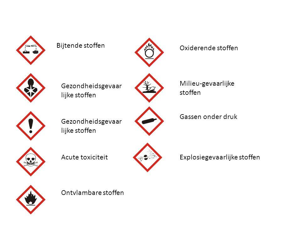 Bijtende stoffen Gezondheidsgevaar lijke stoffen Acute toxiciteit Ontvlambare stoffen Oxiderende stoffen Milieu-gevaarlijke stoffen Gassen onder druk
