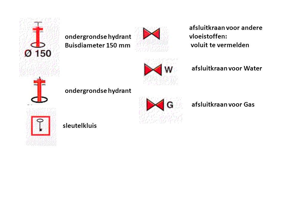 afsluitkraan voor Gas afsluitkraan voor Water afsluitkraan voor andere vloeistoffen: voluit te vermelden ondergrondse hydrant Buisdiameter 150 mm onde