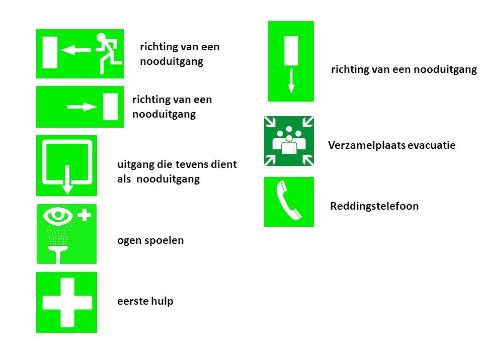 Verzamelplaats evacuatie eerste hulp ogen spoelen Reddingstelefoon richting van een nooduitgang uitgang die tevens dient als nooduitgang richting van