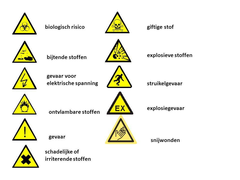 biologisch risico bijtende stoffen gevaar voor elektrische spanning explosieve stoffen gevaar giftige stof ontvlambare stoffen schadelijke of irritere