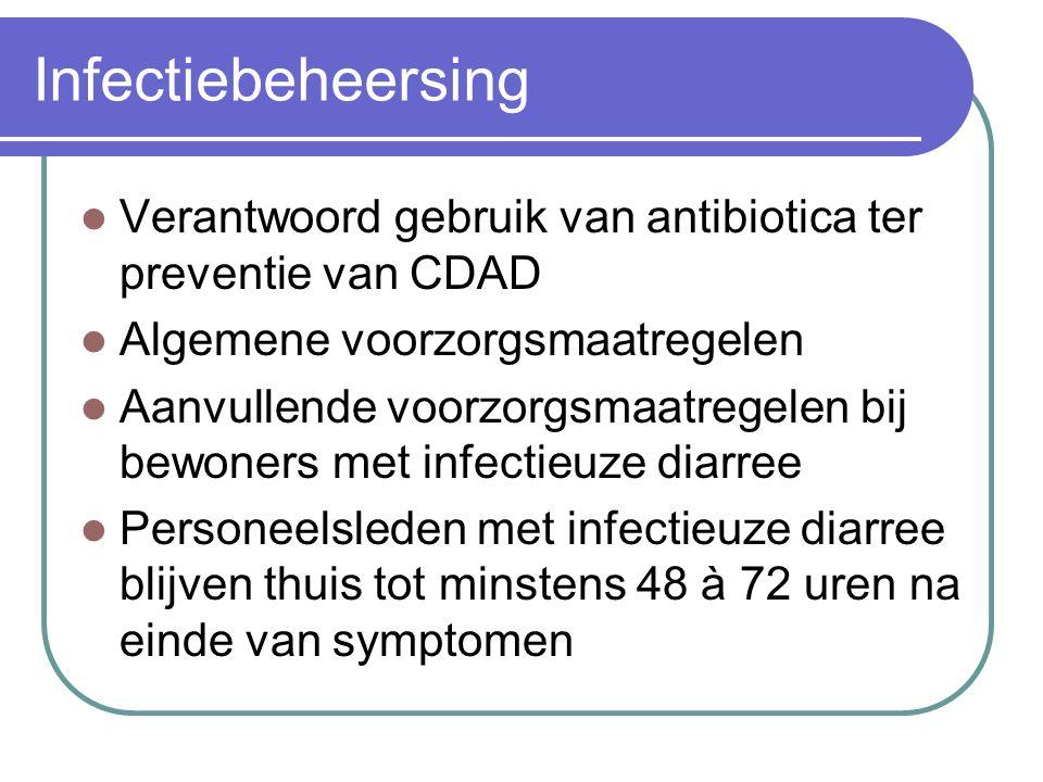 Infectiebeheersing Verantwoord gebruik van antibiotica ter preventie van CDAD Algemene voorzorgsmaatregelen Aanvullende voorzorgsmaatregelen bij bewon