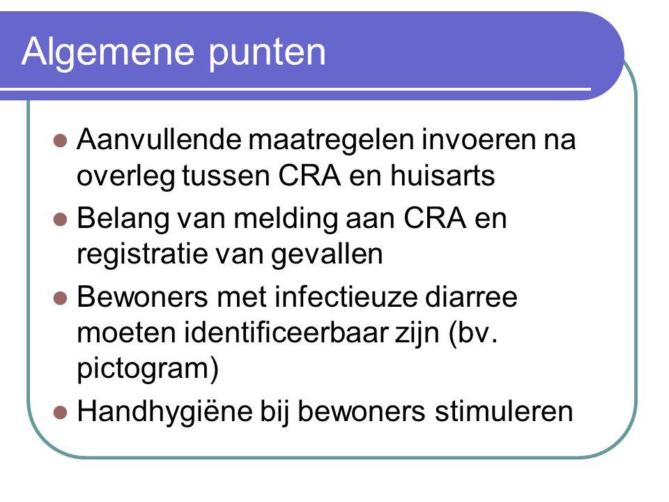 Algemene punten Aanvullende maatregelen invoeren na overleg tussen CRA en huisarts Belang van melding aan CRA en registratie van gevallen Bewoners met