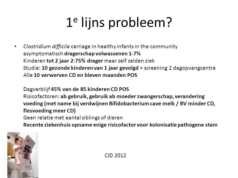 1 e lijns probleem? Clostridium difficile carriage in healthy infants in the community asymptomatisch dragerschap volwassenen 1-7% Kinderen tot 2 jaar