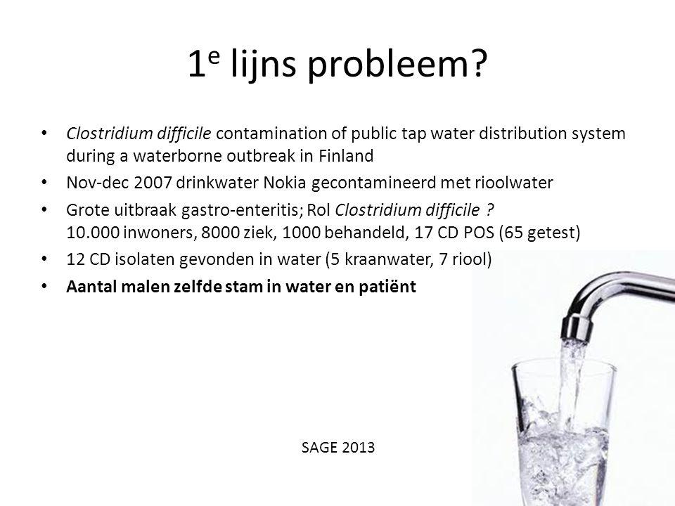 1 e lijns probleem? Clostridium difficile contamination of public tap water distribution system during a waterborne outbreak in Finland Nov-dec 2007 d