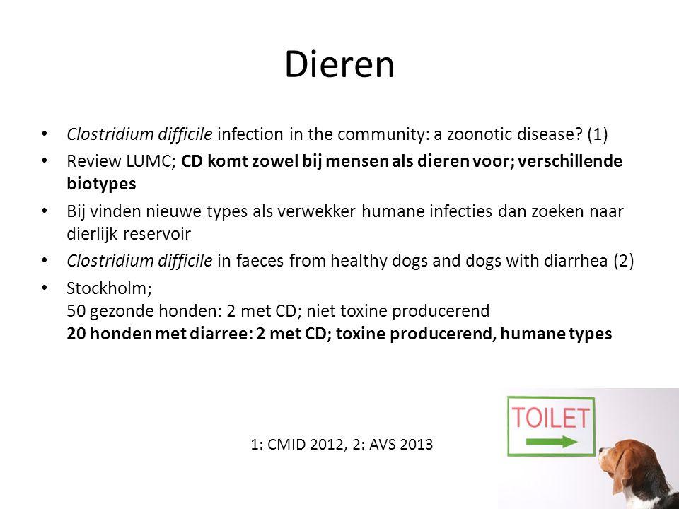 Dieren Clostridium difficile infection in the community: a zoonotic disease? (1) Review LUMC; CD komt zowel bij mensen als dieren voor; verschillende