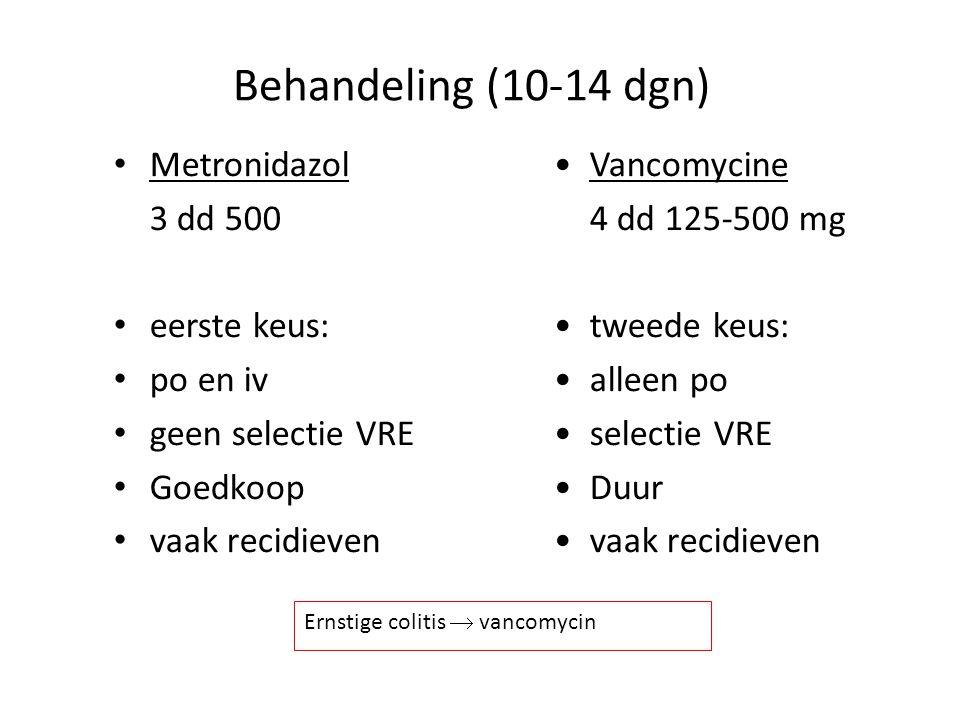 Behandeling (10-14 dgn) Metronidazol 3 dd 500 eerste keus: po en iv geen selectie VRE Goedkoop vaak recidieven Vancomycine 4 dd 125-500 mg tweede keus