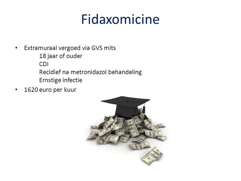 Fidaxomicine Extramuraal vergoed via GVS mits 18 jaar of ouder CDI Recidief na metronidazol behandeling Ernstige infectie 1620 euro per kuur