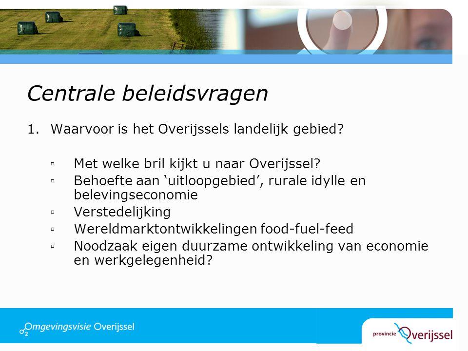 Centrale beleidsvragen 1.Waarvoor is het Overijssels landelijk gebied.