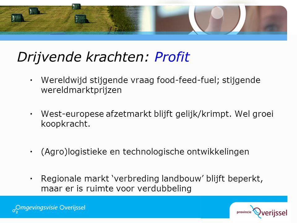 Drijvende krachten: Profit  Hervormingen EU landbouwbeleid: ▫Liberalisatie: toenemende internationale concurrentie, maar ook toegang tot nieuwe markten ▫Markt wordt bepalender, meer en sterker fluctererende prijzen ▫Koppeling bedrijfstoeslagen aan maatschappelijke prestaties van de landbouw (vraag: wat en waar?) ▫Afschaffing melkquota in 2015 ▫Schaalvergroting in alle schakels van de ketens