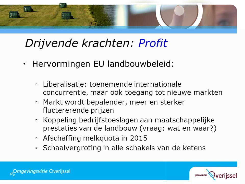 Drijvende krachten: Profit  Hervormingen EU landbouwbeleid: ▫Liberalisatie: toenemende internationale concurrentie, maar ook toegang tot nieuwe markten ▫Markt wordt bepalender, meer en sterker fluctererende prijzen ▫Koppeling bedrijfstoeslagen aan maatschappelijke prestaties van de landbouw (vraag: wat en waar ) ▫Afschaffing melkquota in 2015 ▫Schaalvergroting in alle schakels van de ketens