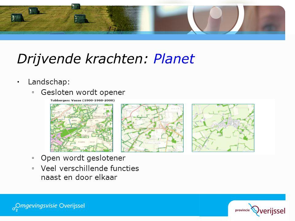 Drijvende krachten: Planet  Landschap: ▫Gesloten wordt opener ▫Open wordt geslotener ▫Veel verschillende functies naast en door elkaar