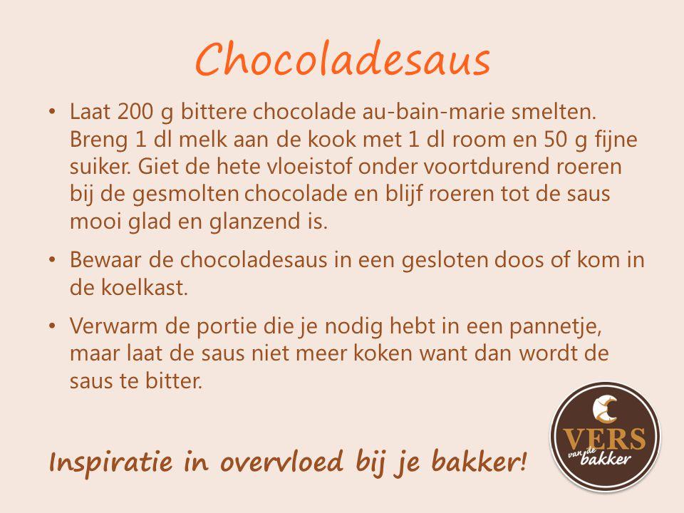Laat 200 g bittere chocolade au-bain-marie smelten. Breng 1 dl melk aan de kook met 1 dl room en 50 g fijne suiker. Giet de hete vloeistof onder voort