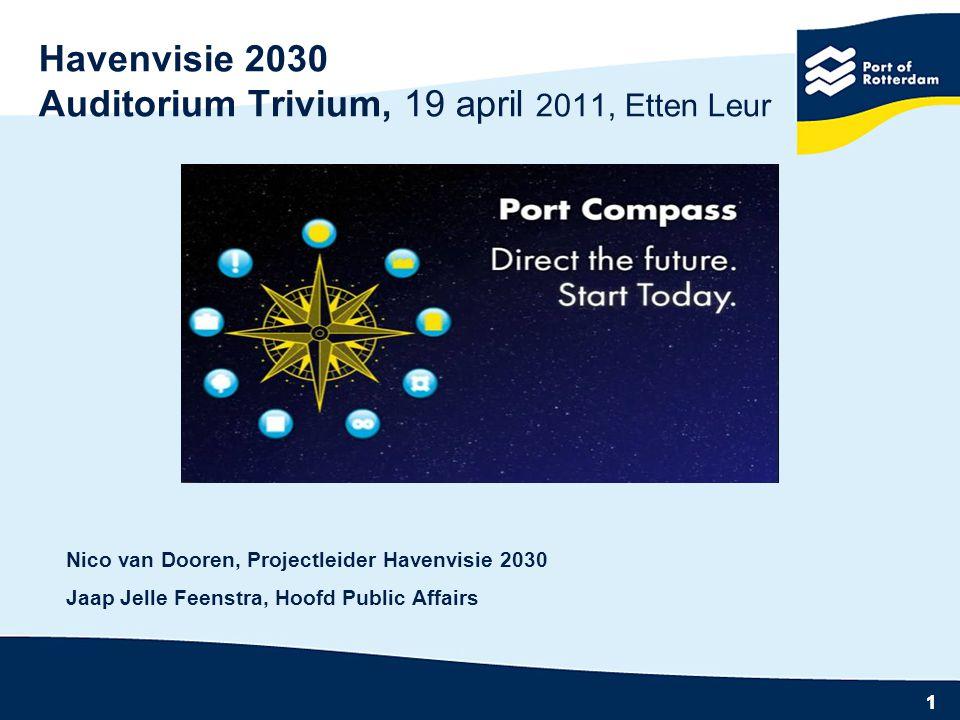 11 Havenvisie 2030 Auditorium Trivium, 19 april 2011, Etten Leur Nico van Dooren, Projectleider Havenvisie 2030 Jaap Jelle Feenstra, Hoofd Public Affairs