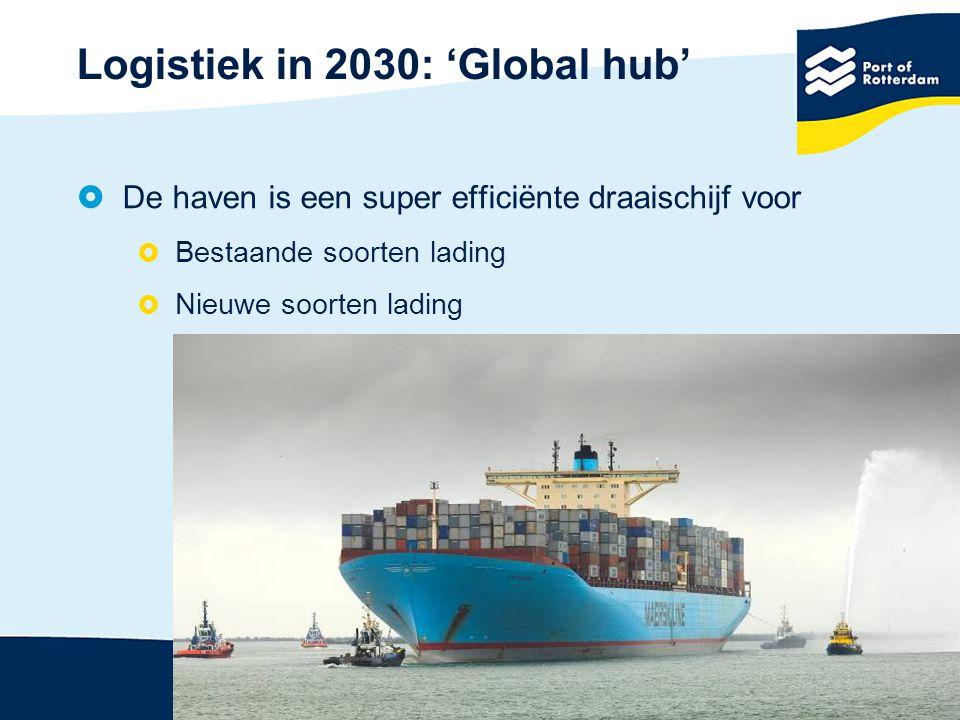 Logistiek in 2030: 'Global hub'  De haven is een super efficiënte draaischijf voor  Bestaande soorten lading  Nieuwe soorten lading