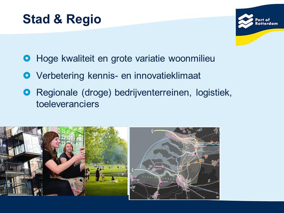 Stad & Regio  Hoge kwaliteit en grote variatie woonmilieu  Verbetering kennis- en innovatieklimaat  Regionale (droge) bedrijventerreinen, logistiek, toeleveranciers