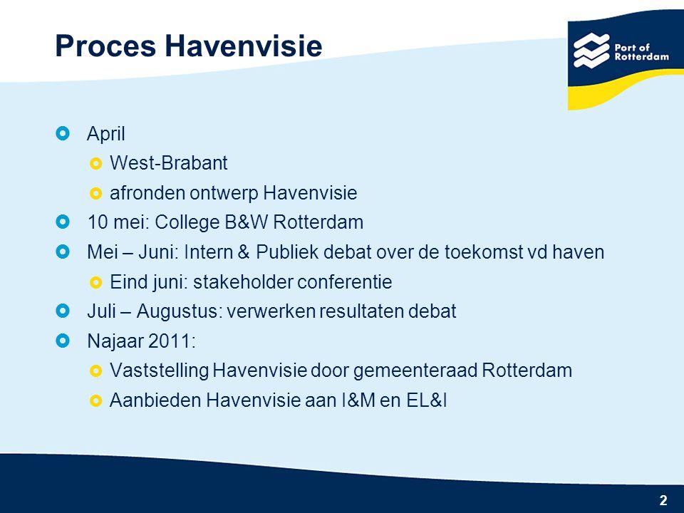 13 Kenmerken Global Hub 5 Hoogwaardige ondersteunende activiteiten in de regio 4 Geïntegreerd havennetwerk 1 Mondiale en intra-Europese goederenstromen 2 Ketenefficiëntie 3 Duurzame hub