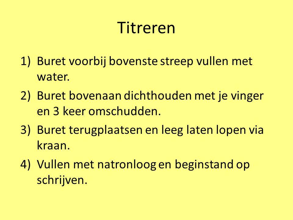 Titreren 1)Buret voorbij bovenste streep vullen met water. 2)Buret bovenaan dichthouden met je vinger en 3 keer omschudden. 3)Buret terugplaatsen en l